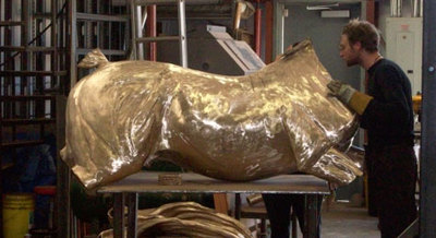Bronze sculpture assembly at Rocky Mountain Bronze Shop in Loveland Colorado